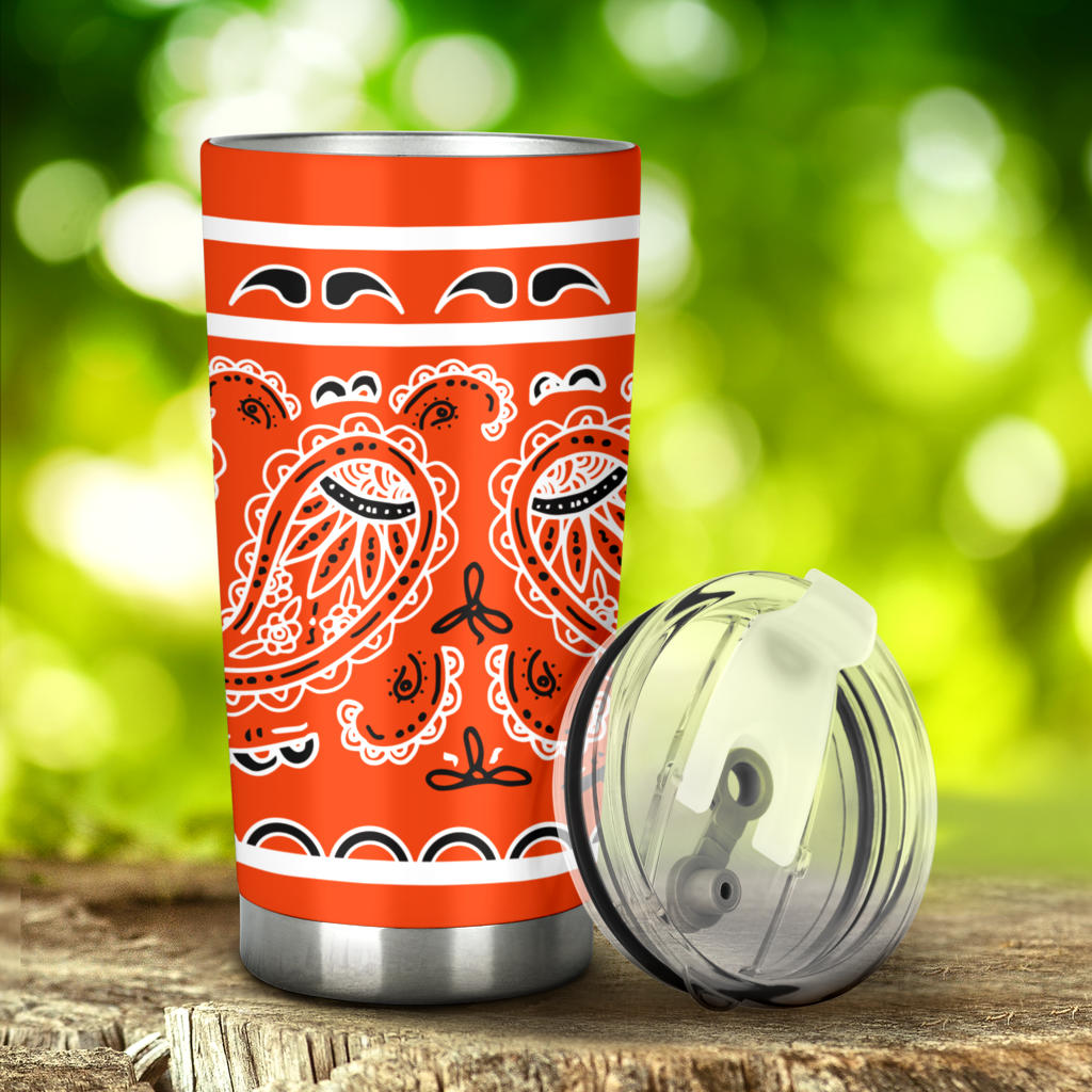orange bandana tumbler car cups
