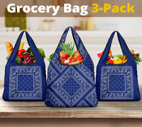blue bandana grocery bag