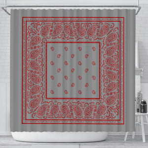 Gray and Red Bandana Shower Curtain