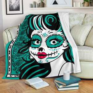 Ultra Plush Teal Bandana Calavera Fleece Blanket