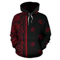 red and black bandana hoodie front view