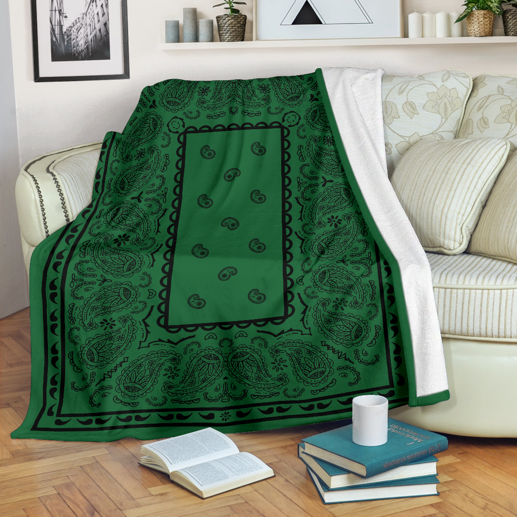 Green with Black Bandana Throw Blanket