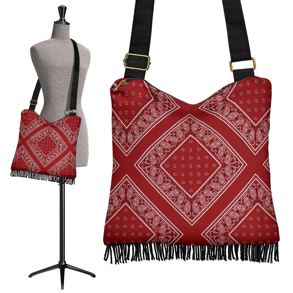 red bandana bohemian crossbody bag