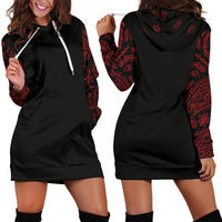 Black and Red Bandana Hoodie Dress front and back