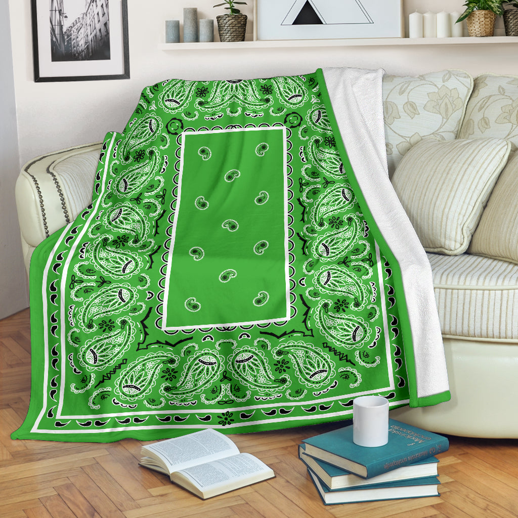 Green Bandana Fleece Throw Blanket