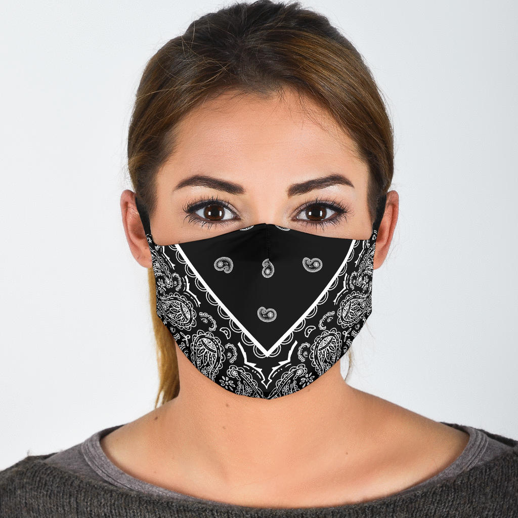 Adjustable Black Bandana Face Mask with 5 Layer Filters