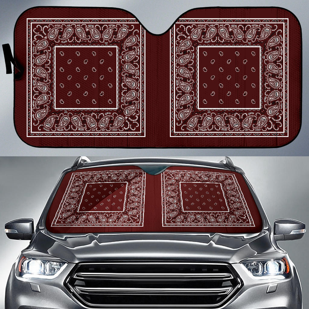burgundy bandana hot rod car window shade
