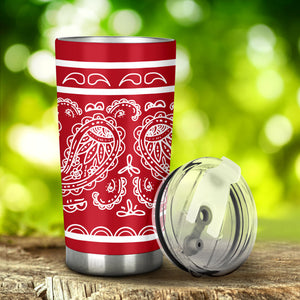 red bandana insulated car cup