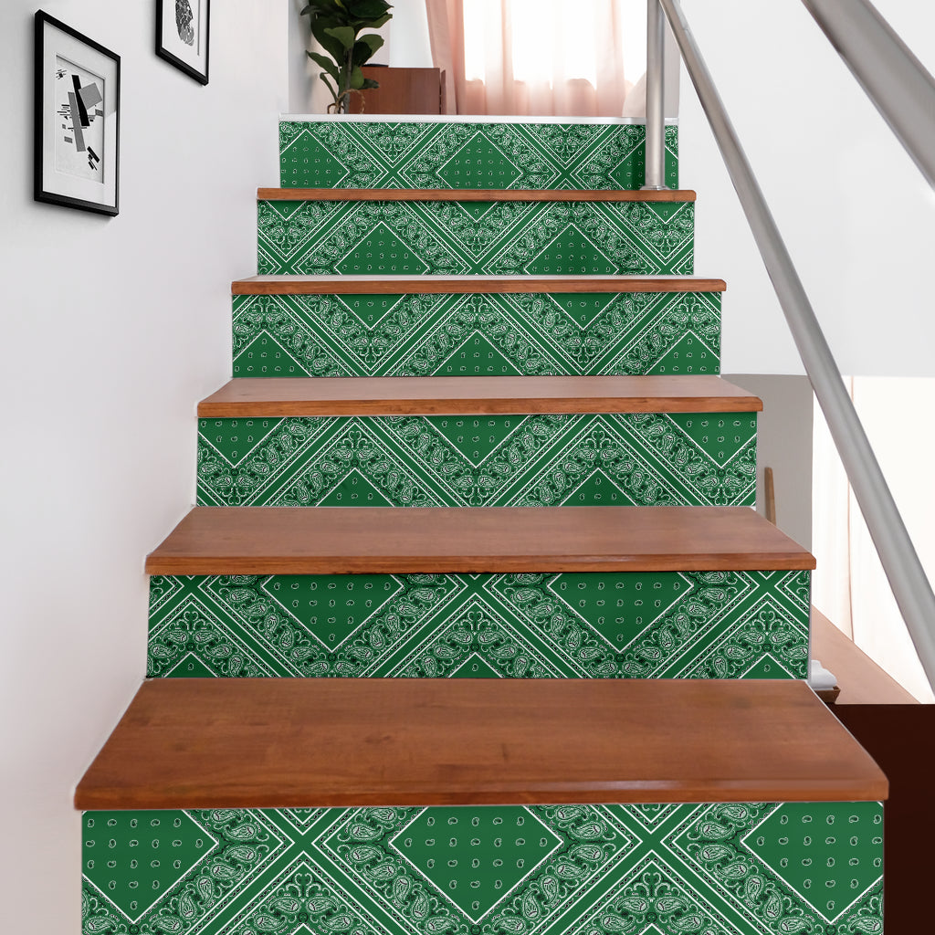 Classic Green Bandana Stair Stickers 6 Steps