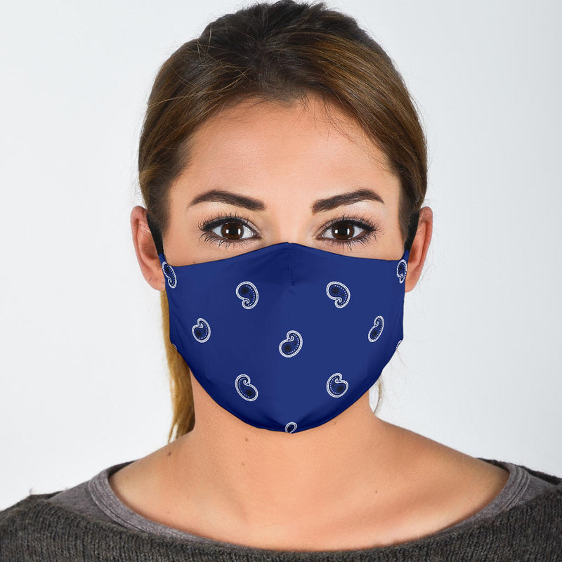 Adjustable Royal Blue Paisley Face Mask with 5 Layer Filters