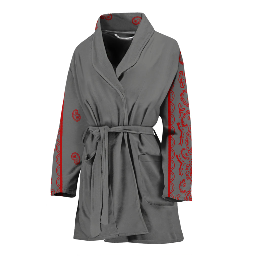grey and red bathrobe