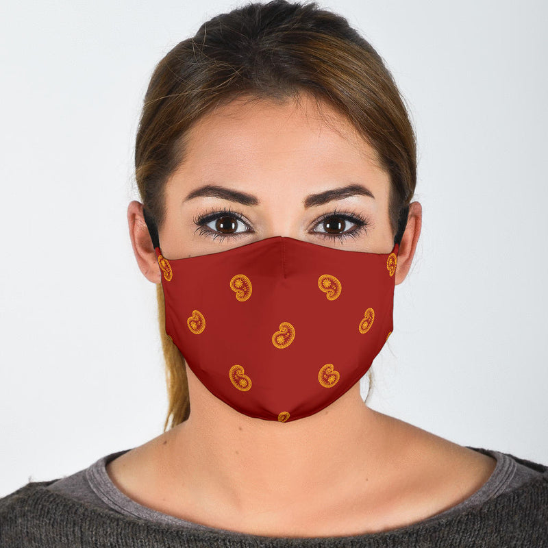 red and gold bandana face mask