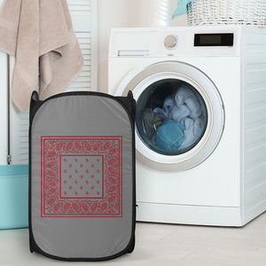 Gray and Red Bandana Laundry Basket