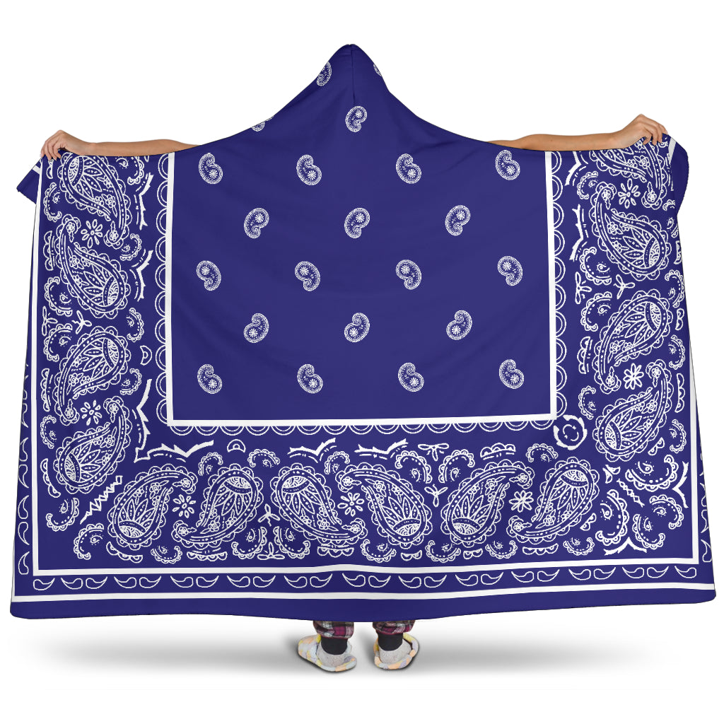 Blue and White Bandana Hooded Blanket