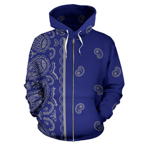 blue and gray bandana zip hoodie front view