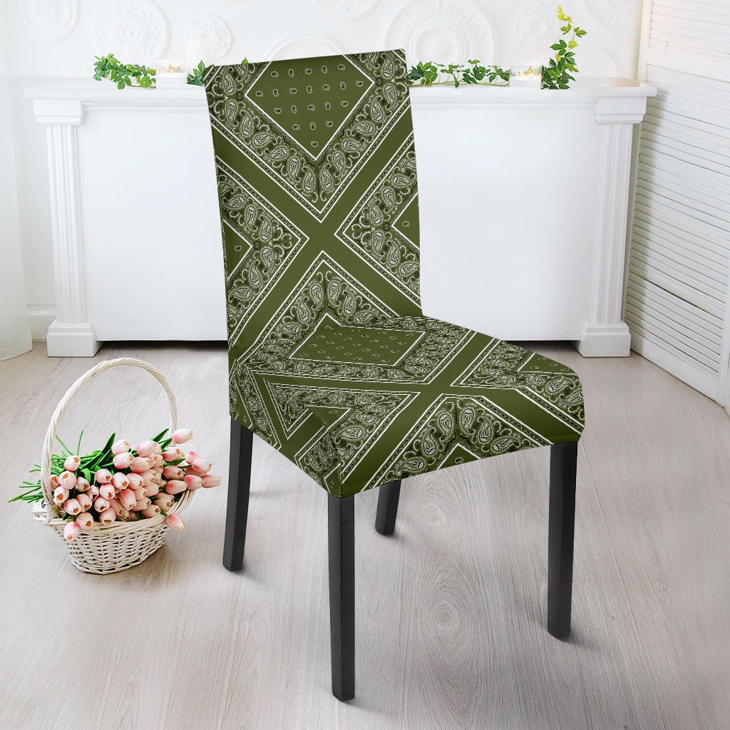 Army Green Bandana Dining Chair Slipcovers