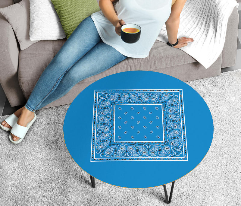 Sky Blue Bandana Round Coffee Tables