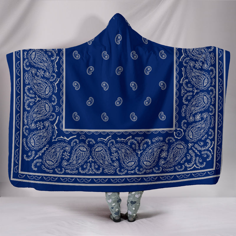 Blue and Gray Bandana Hooded Blanket