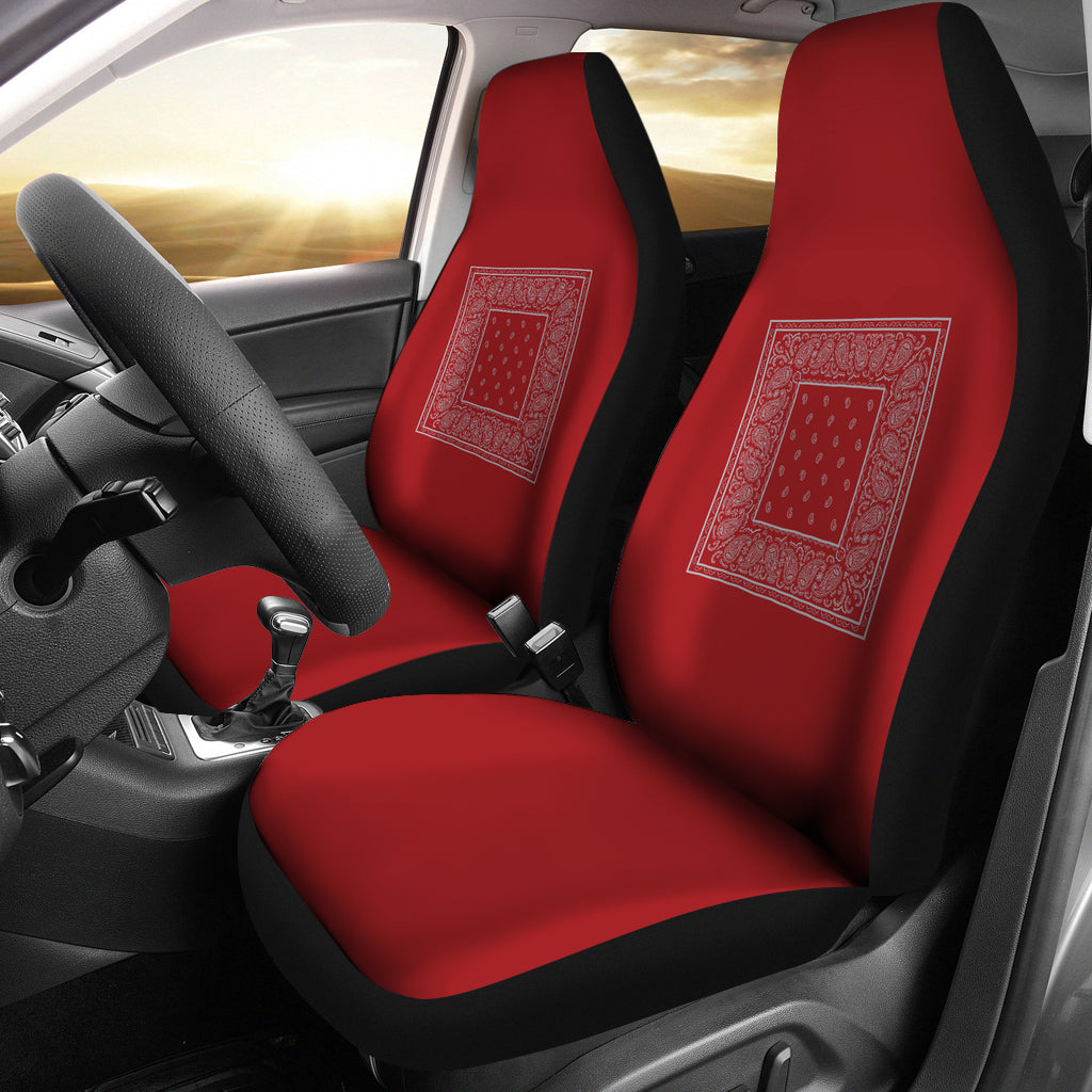 Red and gray car seat cover
