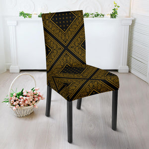 Black Gold Bandana Dining Chair Covers