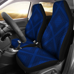 blue and black seat cover