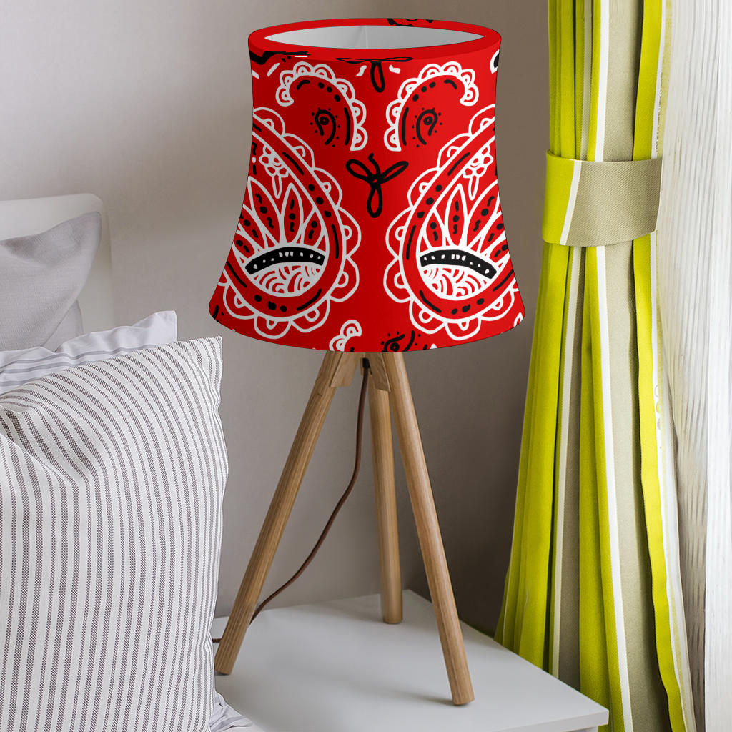 Red Paisley Drum Lampshades