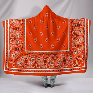 Orange Bandana Hooded Blanket