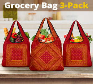 Red and Gold Bandana Grocery Bag 3-Pack