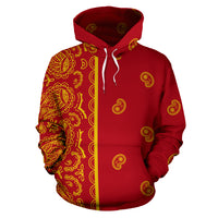red and yellow bandana pullover hoodie