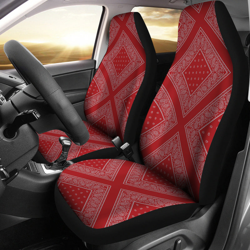 Red and gray car seat covers