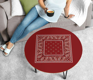 Maroon Bandana Round Coffee Table