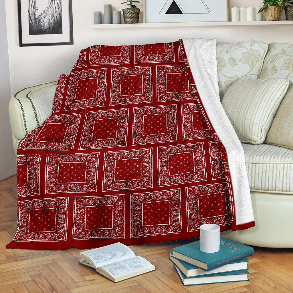 Maroon Bandana Patch Throw Blanket