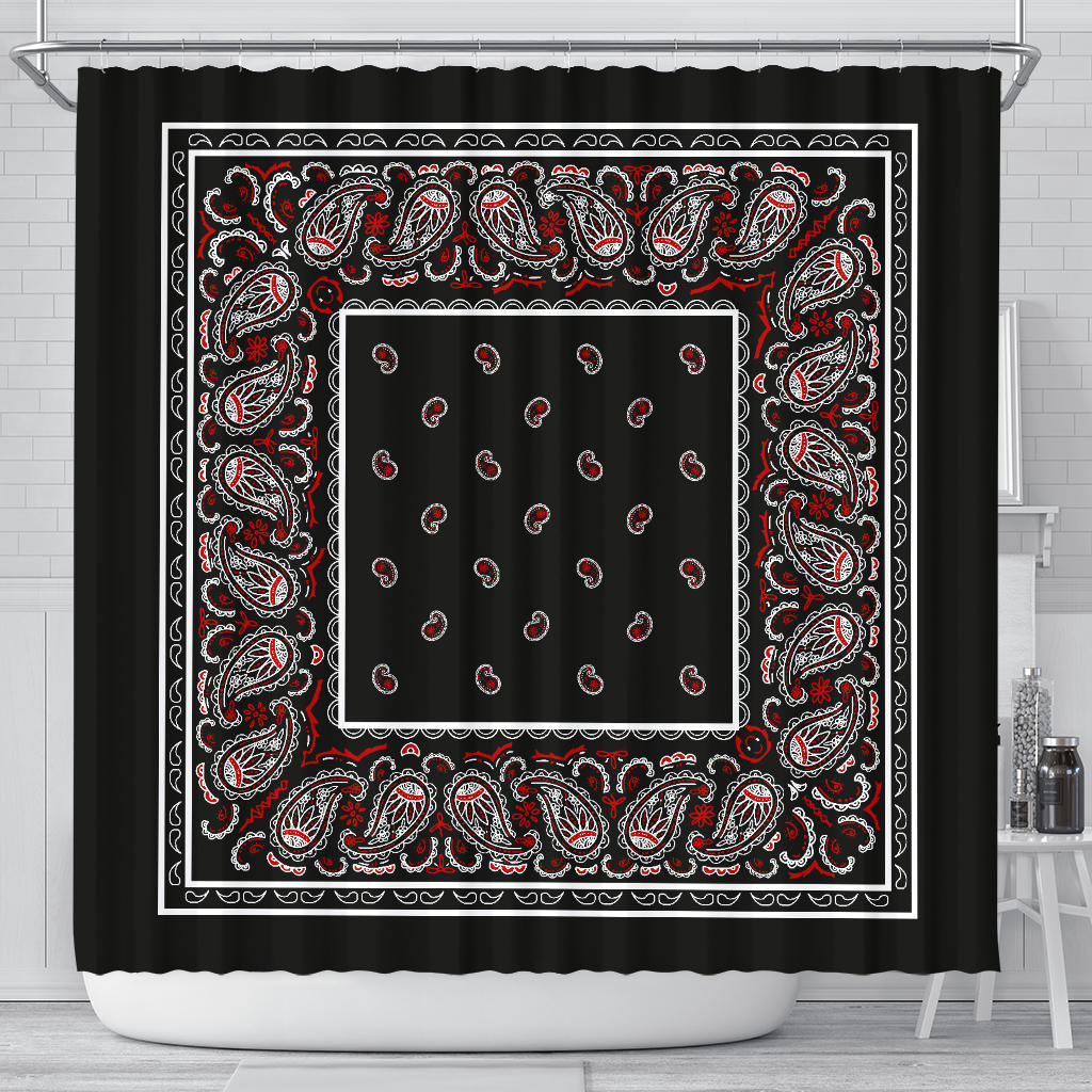 Black Bandana Shower Curtains