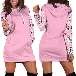 Front and Back Light Pink Bandana Hoodie Dress