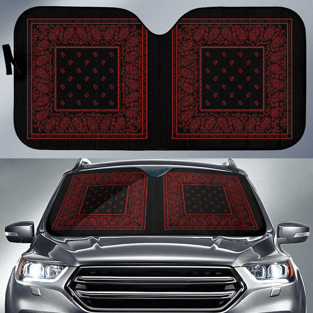 black and red bandana auto window shade