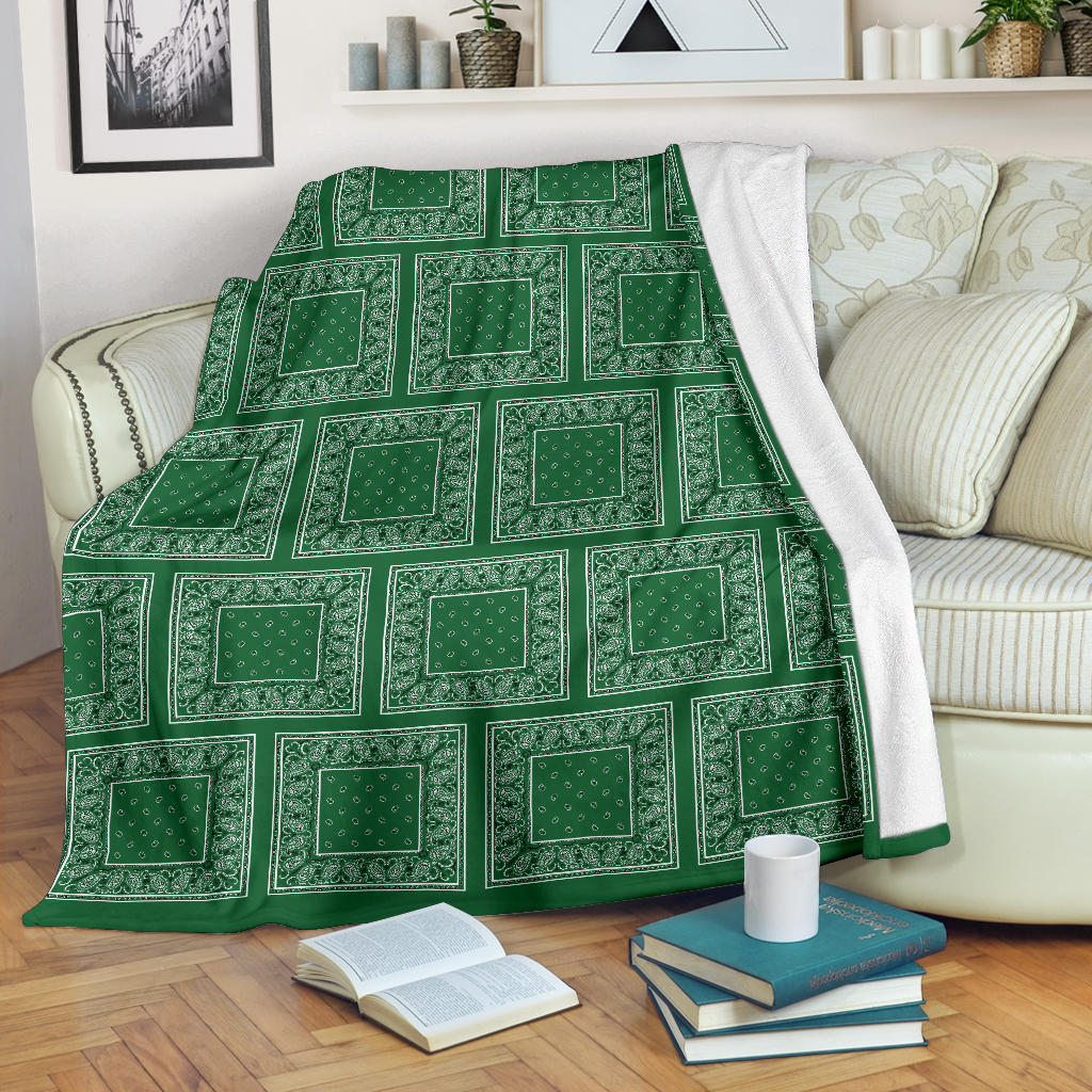 Green Bandana Patch Throw Blanket