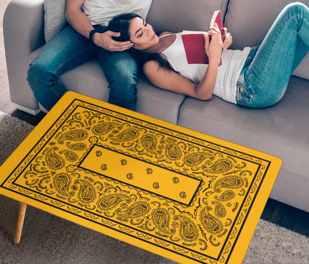 Gold and Black Bandana Rectangular Coffee Tables
