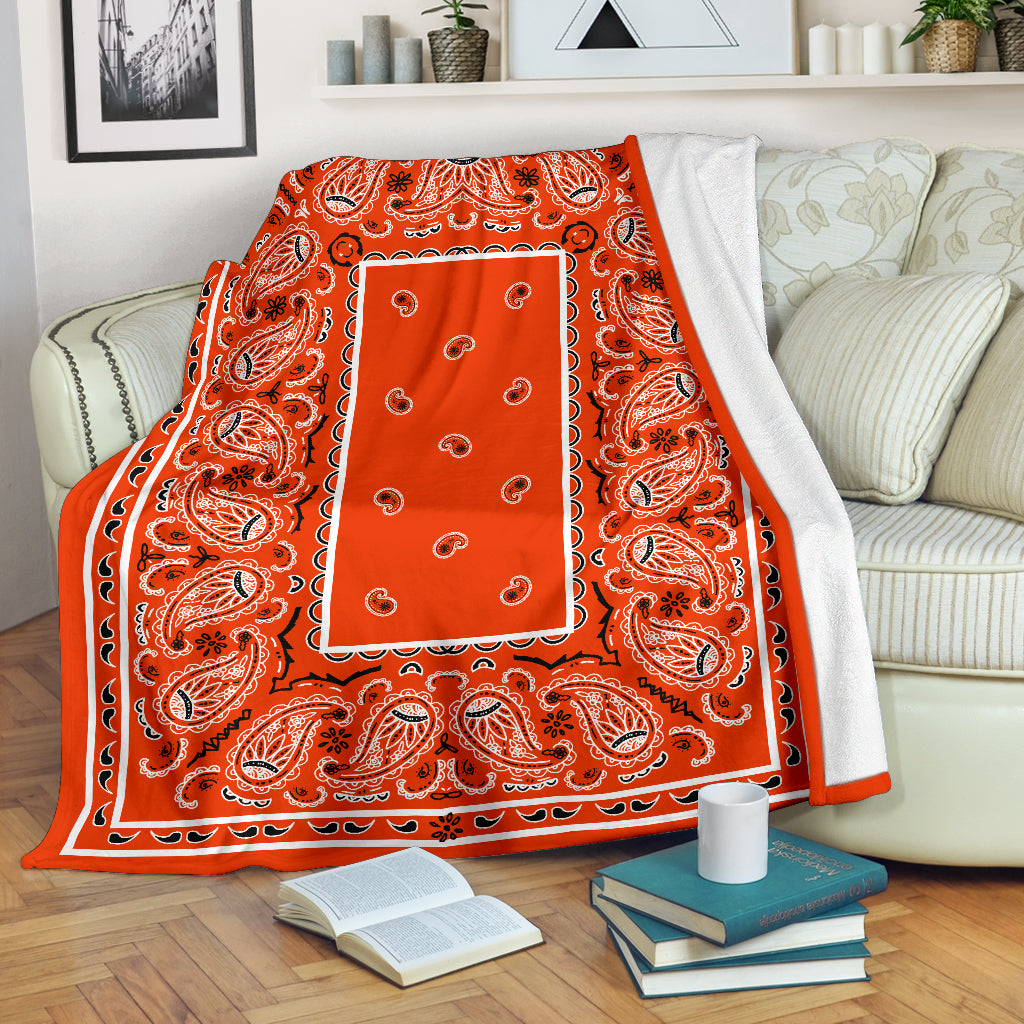 Orange Bandana Throw Blanket