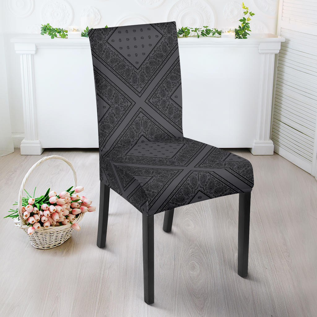 Gray and Black Bandana Dining Chair Cover