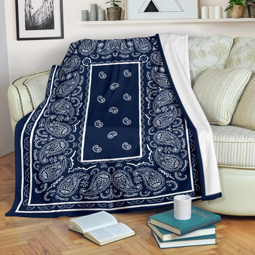 Dark Navy and White Bandana Fleece Throw