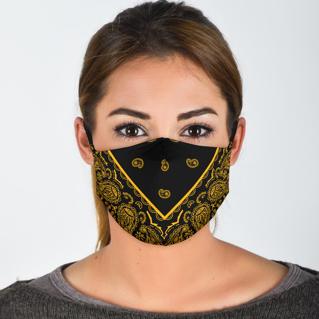 Adjustable Black Gold Bandana Face Mask with 5 Layer Filters