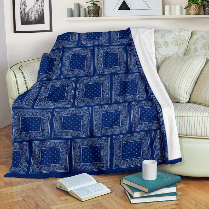 Blue Gray Bandana Throw Blanket
