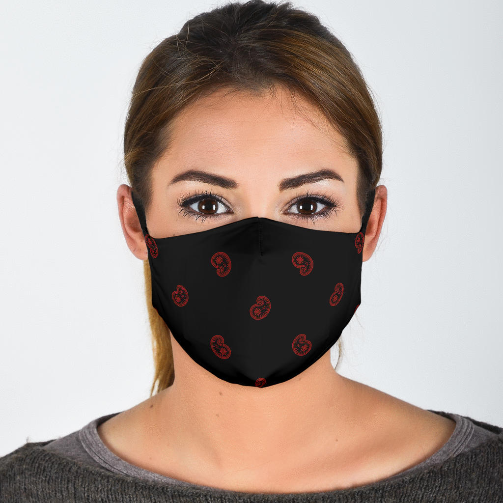 paisley print face mask with black and red