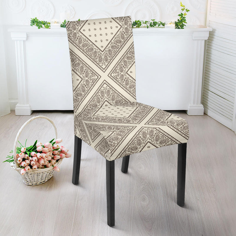 Cream and Brown Bandana Dining Chair Slipcovers
