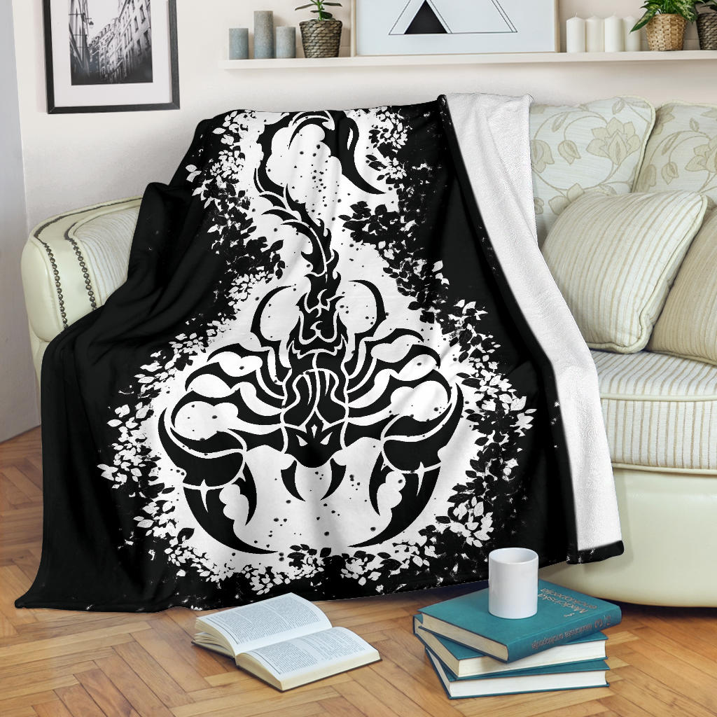 Scorpion in Leaves Tribal Throw Blanket