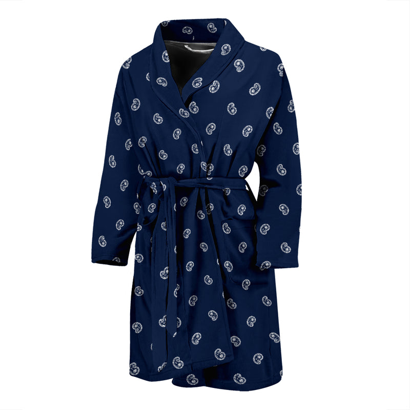 navy and white mens robe