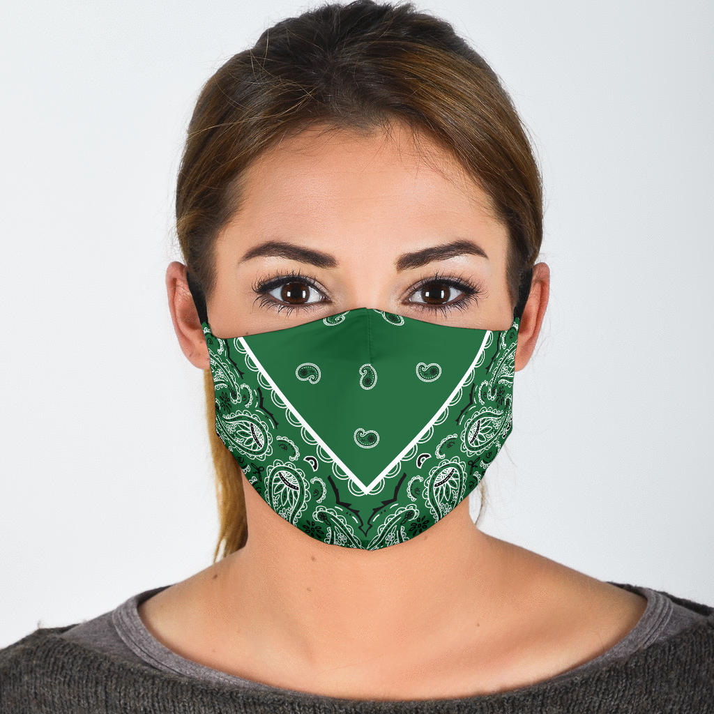 Adjustable Green Bandana Face Mask with 5 Layer Filters