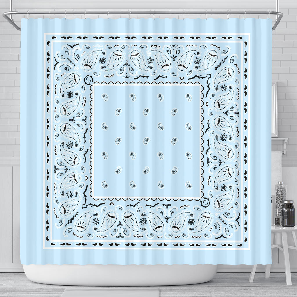 Light Blue Bandana Shower Curtain