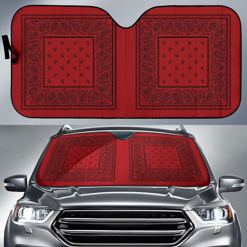 red and black bandana auto window shade