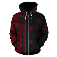 black and red bandana zip hoodie front view